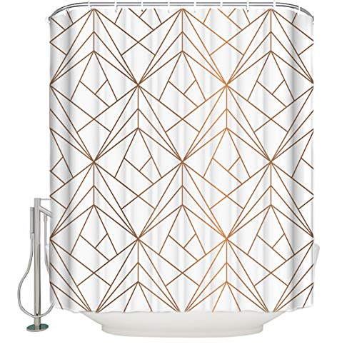 CHARMHOME Geometric of Brown Lines Fabric Shower Curtain...