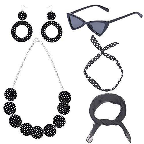 Haichen 50\'s Disfraz de Mujer Accesorios Conjunto Bufanda de Gasa Polka Dot Pañuelo con Lazo Corbata Pendientes Collar Retro Triángulo Gafas de Sol con Ojo de Gato 5 Piezas (Black)