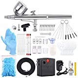 Sntieecr 67 PCS Airbrush Compressor Kit, Dual-Function Airbrush Spray Gun Full Set with Mini Airbrush, (0.2, 0.3, 0.5mm) Nozzle and Needle, Tools Set for Makeup, Nail Art, Cake, Tattoos and Models