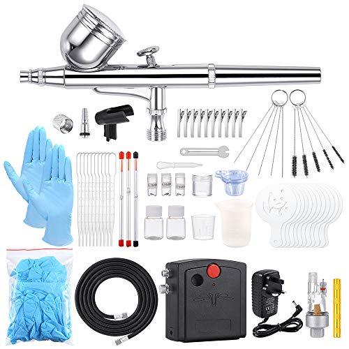 Sntieecr 67 PCS Airbrush Compressor Kit, Dual-Function Airbrush Spray Gun Full Set with Mini...