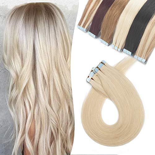 Extensions Echthaar Klebeband Remy Haarverlängerung Tape in Glatt Human Hair 20 Stücke/Paket 14 Zoll(35cm) 40g #60 Platinblond