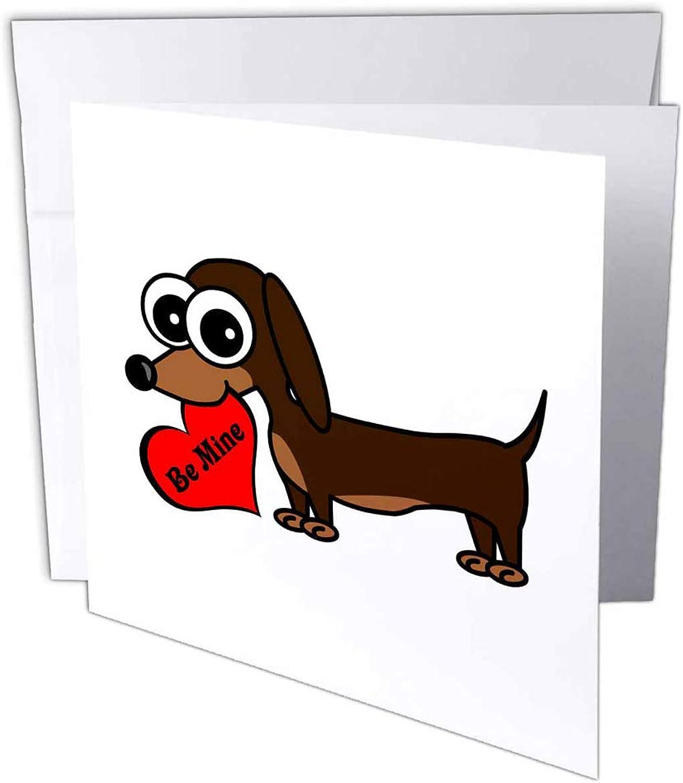 3dRosa gc_6340_2 15,2 x 15,2 cm Cute Dog Be Mine Heart - Dackel  Grußkarte (12 Stück) B07BB75VQR | Großartig  | Langfristiger Ruf  | Outlet Store Online