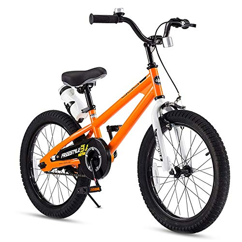 RoyalBaby Kids Bike Boys Girls Freestyle BMX Bicycle With Kickstand Gifts for Children Bikes 18 Inch Orange