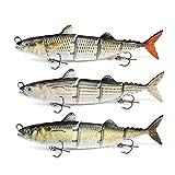 ods lure 3 Stück Thunfischköder 4 Gelenkartigen Angelköder mit Haken für Süßwasser Salzwasser Barsch Forellen Hecht Zander