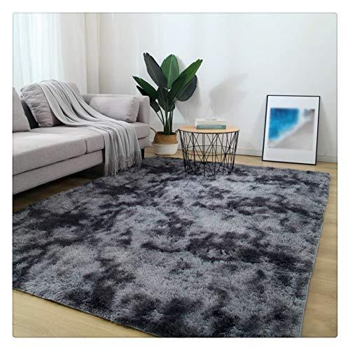 SimidunEUR Home Hochflor Wohnzimmer Teppich Waschbar Plüschteppich Tie-Dye allmählicher Rechteck Teppiche Hochflor Shaggy,Dunkelgrau,60 * 160 cm