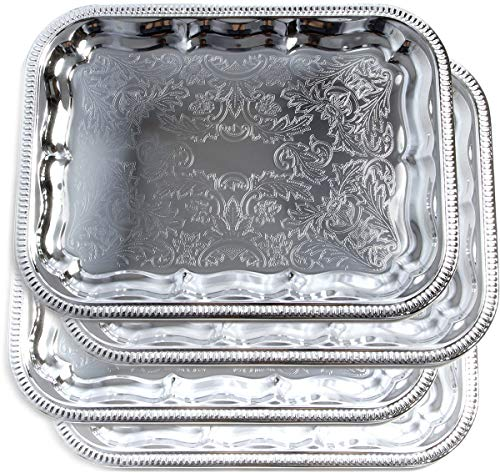 Maro Megastore (Pack of 4) 16.1-Inch x 12.2-Inch Oblong Rectangular Trim Victoria Floral Engraved Catering Chrome Plated Serving Plate Mirror Food Candle Deco Art Tray Platter Party(Medium) T227-4pk