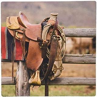 3dRose LLC 8 x 8 x 0.25 Inches Mouse Pad, Or Seneca Ponderosa Ranch Horse Saddle (mp_93544_1)