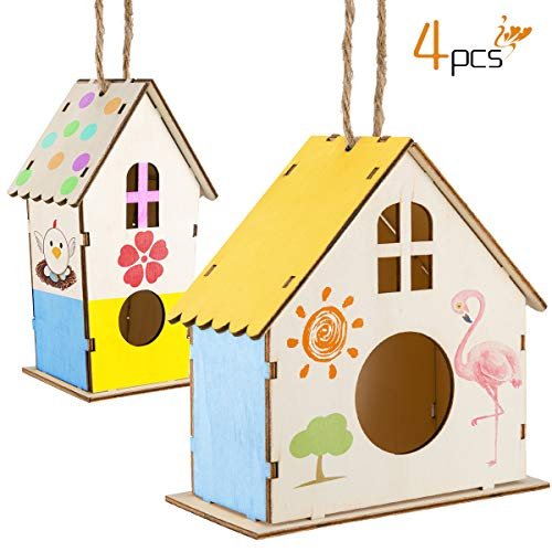 Alphatool 4 Pack DIY Wooden Bird House Kit- 2pcs 3.1 x 3 x 4 inch Unfinished Bird Bungalow+ 2pcs 5.9 x 3 x 5.9 inch Paintable Birdhouse Hangable DIY Bird Nest Crafts for Children Kids Boys Girls