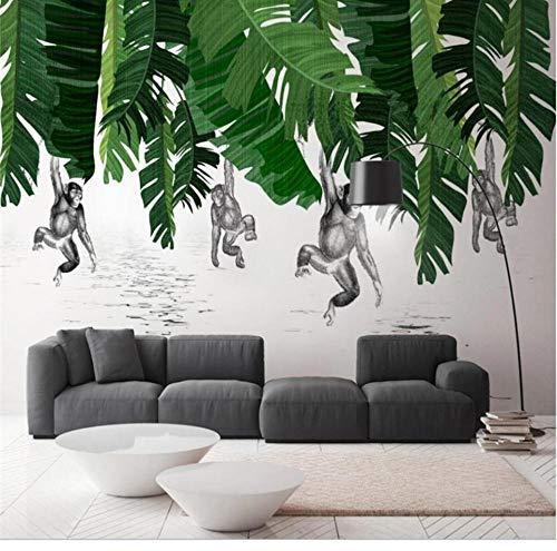 QAQB behang banaan blad aap plant achtergrond muur hoge kwaliteit waterdicht materiaal