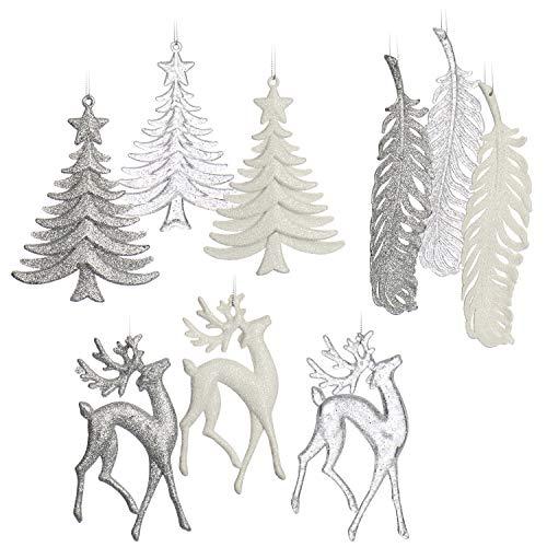 com-four® 9X Christbaumschmuck Weihnachtsdeko mit verschiedenen Motiven - Anhänger für Weihnachten in weiß, transparent und silberfarben (9-teilig - 16cm)
