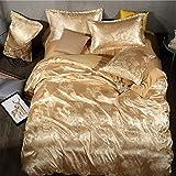Stil Seide Bettbezug Set Bettwäsche Set Bettbezug Bettlaken Kissenbezüge Super King King Queen Gold 200x230cm