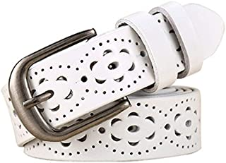 NO BRAND Women Fashion WideBelt Floral Carved Cow Skin Belts for JeansFemale Straps Vintage