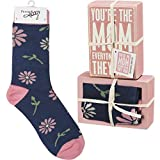 """Set of box sign and matching socks. Socks are cotton, nylon, and spandex and are machine-washable Socks are packaged at the back of the box sign, and package is tied with cloth ribbon. Box Sign: 4.50"""" x 3"""" x 1.75"""", Socks: One Size Fits Most"""