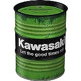 Nostalgic-Art - Kawasaki - Let the good times roll Spardose, Geschenke für Motorrad-Fahrer, als Sparschwein aus Metall, Vintage Sparbüchse aus Blech