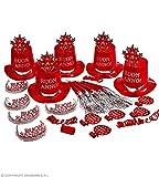 Party kit buon anno rosso cappellini cotillon capodanno
