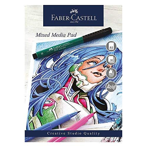 Faber-Castell Blocco per tecnica mista A5, Bianco