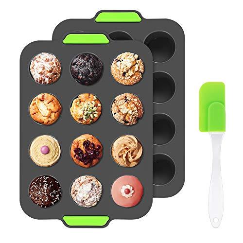 Aukiita Muffinblech aus Silikon 12er Set, Muffinform mit Spachtel, Muffin Backblech Muffinplatten Cupcake Backform für Muffin/Cupcake/Kuchen/Brownies, antihaftbeschichtet