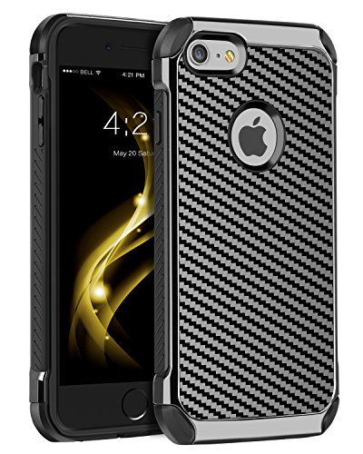 BENTOBEN iPhone 6 Plus Case, iPhone 6S Plus Case, 2 in 1 Slim Laminated with Carbon Fiber Texture Shockproof Protective Case for iPhone 6S Plus/6 Plus,Black