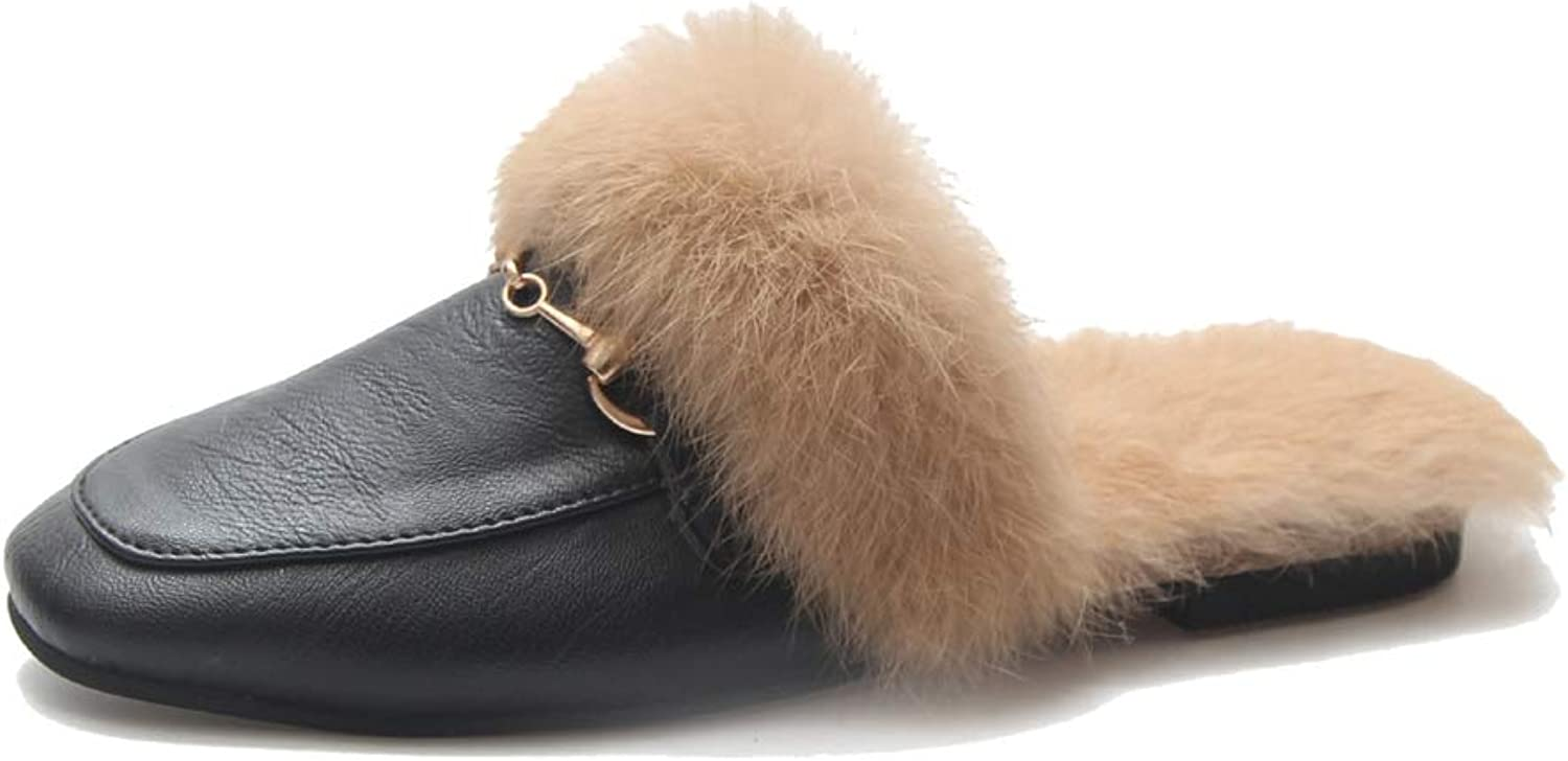 August Jim Women Winter Flats shoes,Slip on Winter Furry Moccasins Loafers
