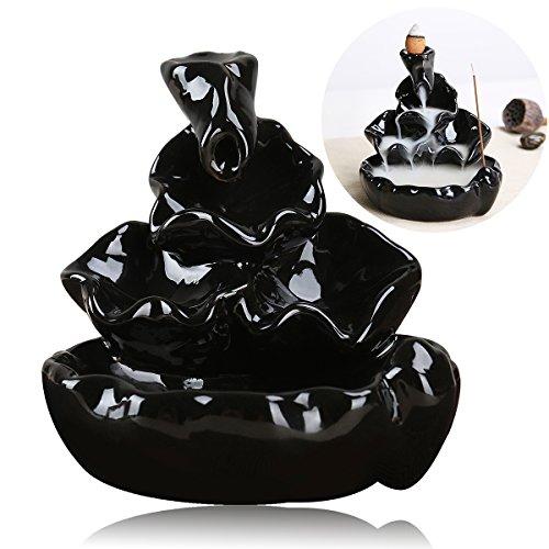 PIXNOR PIXNOR Keramik Räuchergefäß, Keramik Glasur Weihrauch Kegel Brenner Rückfluss Räuchergefäß Turm Halter für Heimtextilien (Schwarz)