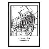 Nacnic Drucken Stadtplan Cancun nordischen Stil schwarz und