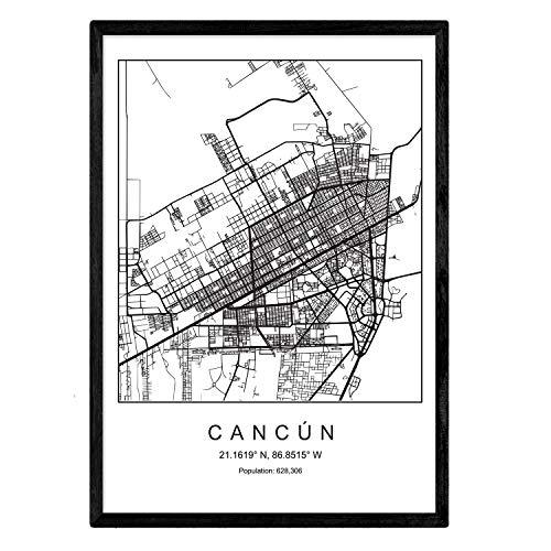 Nacnic Lámina Mapa de la Ciudad Cancun Estilo nordico en Blanco y Negro. Poster tamaño A3 Sin Marco Impreso Papel 250 gr. Cuadros, láminas y Posters para Salon y Dormitorio