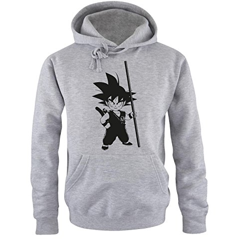 Comedy Shirts Sweat Shirt pour Hommes Son Goku III - Sweat à Capuche pour Hommes Dragon Ball Z - Sweat pour Hommes avec Logo DBZ Gris Noir s