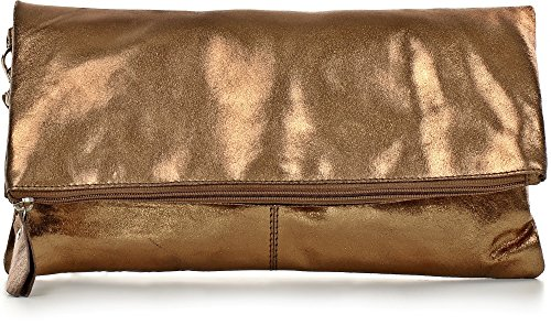 CNTMP, Damen Handtaschen, Clutch, Clutches, Clutchbags, Unterarmtaschen, Partybags, Trend-Bags, Metallic, Leder Tasche, 32x17x2,5cm (B x H x T), Farbe:Bronze