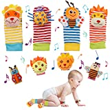 Seamuing Hochets de Poignet Bebe 8 Pièces Hochet Animaux Jouet enfant Poignet Pied Finder Chaussette Set pour Tout-petits Garçons Filles