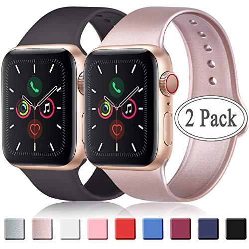 AK 2 Cinturini per Apple Watch 42mm 38mm 44mm 40mm, Cinturino Sportivo in Silicone Morbido di Ricambio per iWatch Series 3/4/5/1/2, Cinturino Donna/Uomo (38/40 mm S/M, Nero + Oro Rosa)