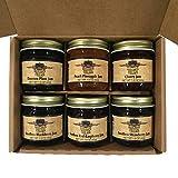 Kitchen Kettle Village Jams and Jellies Variety Sampler Box, set of six 1.5 oz. individual flavors in glass jars Jam sampler gift set fresh from Kitchen Kettle Village in Lancaster, Pennsylvania (1) Peach or Peach Pineapple, (1) Damson Plum, Apple Ra...