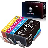 Wolfgray 934 935 Cartuchos de tinta Compatibles para HP 934XL 935XL 934XL 935XL para HP Officejet Pro 6830 6230 6812 6815 6835 6820 Impresoras (1 Negro, 1 Cian, 1 Magenta, 1 Amarillo)