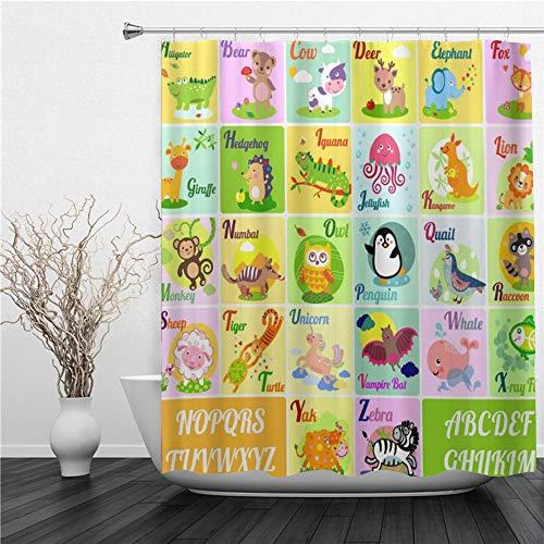 SUHETI Duschvorhang 180x180cm,Lustige Tiere Alphabet Buchstaben ABC Educational,Duschvorhang Wasserabweisend-Duschvorhangringen 12 Shower Curtain mit