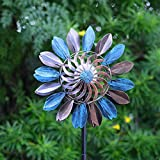 Joyathome 75in Metal Solar Wind Spinner Leaves Color Changing LED Lighting Solar Powered Glass Ball with Kinetic Dual Direction for Outdoor Garden Yard Lawn