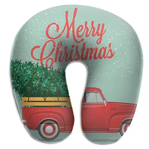 LXJ-CQ Cuscino per Il Collo Etro Pickup Truck con Albero di Natale Cuscino da Viaggio a Forma di U Fodera Lavabile ergonomica dal Design Sagomato