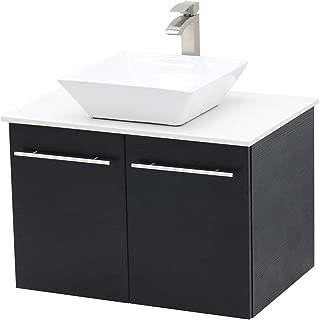 WindBay Wall Mount Floating Bathroom Vanity Sink Set. Black Vanity, White Flat Stone Countertop Ceramic Sink - 30