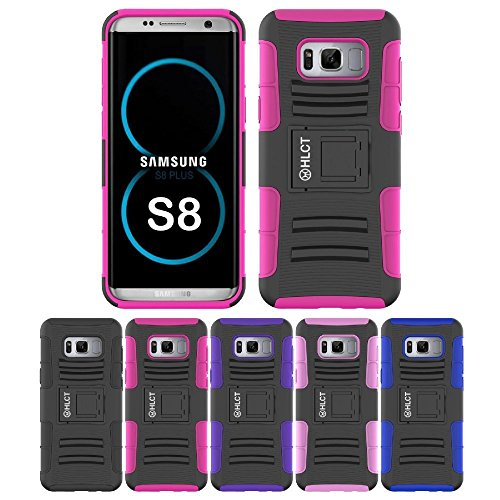 Price comparison product image Galaxy S8 Stand Case,  HLCT Rugged Shock Proof Dual-Layer PC and Soft Silicone Case with Built-in Stand Kickstand for Samsung Galaxy S8 (2017) (Rose Pink)