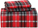 Ruvanti 100% Cotton 4 Piece Flannel Sheets Queen - Deep Pocket - Warm - Super Soft - Breathable Flannel Bed Sheet Set Queen Include Flat Sheet, Fitted Sheet & 2 Pillowcases ( Christmas Red Plaid)