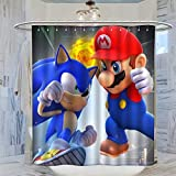 Kmydt America Super Mario Bros Mario VS Sonic Bathroom Shower Curtain Liner Decorative Bath Curtain for Bathroom Shower Rods Curtains 72x72inch(183x183cm)