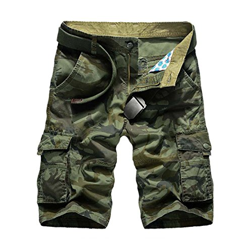 CRYSULLY Men's Casual Comfort Cotton Camoflage Loose Fit Multi Pocket Cargo Shorts(Army Green,36)