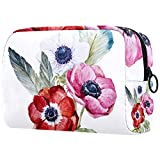 Bolsa de maquillaje de dibujos animados cosméticos bolsa impresa artículos de tocador de viaje bolsas de cosméticos bolsas para mujeres acuarela hojas