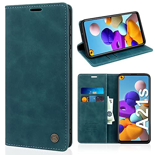 SOGUDE Handyhülle für Samsung Galaxy A21S Hülle, PU Leder Flip Tasche Klappbar Magnet Wallet Lederhülle, Silikon Bumper Schutzhülle Klapphülle Hülle mit Kartenfächer für Samsung Galaxy A21S - Blau
