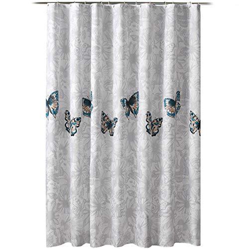 ZXGXH Grijs Douchegordijn, Gordijn Vlinder Vliegende Bloemen Type Verdikking Waterdicht Anti-meeldauw Polyester