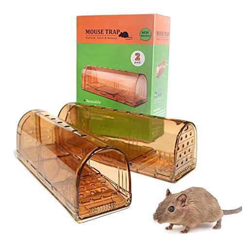 FoxStyle Products Trampa para Ratones Vivos, Ratonera con Cebo, Pack de 2, Jaula, Fácil de Usar, Multicaptura, Automática, Humano, Sin Muerte, Mouse Trap, Marrón