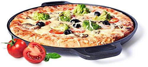 Sandford AMERITALIAN | pizzasteen / pizza-pan met handvat | gietijzeren grillpan voor BBQ-pizza in Amerikaanse stijl | knapperige pizza's vers van de grill & uit de bakoven | Pizza Italiaans-Amerikaans 35cm