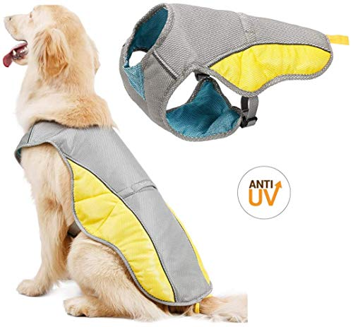 YOMI Dog Cooling Vest Harness Outdoor Puppy Cooler Jacket Reflective Safety Sun-Proof Pet Hunting Coat, Best for Small Medium Large Dogs (Large,Grey)