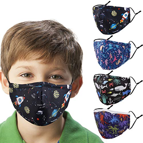 Washable Reusable Kids Face Mask , Dinosaur Galaxy Cute Designer Breathable Cloth Cotton Madks Facemask for Boy Children Toddler Gift mascarillas , Fabric Covering Adjustable Ear Loops Protection