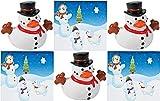 HAPPY DEALS ~ 12 Snowman Rubber Ducks   12 Snowman Sticker Scenes   24 Pc Christmas Snowman Bulk Value Set