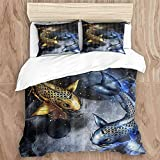 SUPERQIAO Bettbezug-Set, Space Koi Fisch Yin Yang Traditionell Orientalisch , Dekoratives 3-teiliges Bettwäscheset mit 2 Kissenbezügen