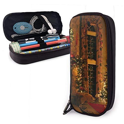 Vintage Kamin Weihnachten Federmäppchen Große Kapazität Bleistift Tasche mit strapazierfähigem Reißverschluss Studenten Schreibwaren Stifttasche für Stifte und andere Schulbedarf